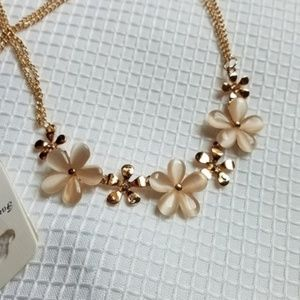 Tiger's Eye Pearl GOLD Flowers Double Chain